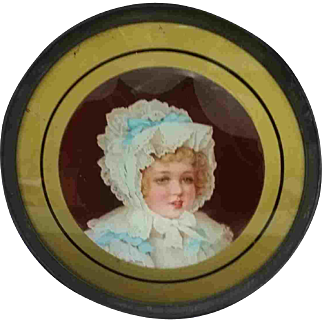 """12"""" Late 19th Early 20th Century Chimney Flue Cover Child Gold Edge Blue Ribbon"""