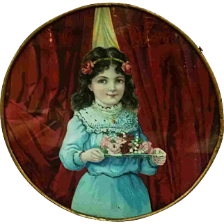 """9.5"""" Late 19th Early 20th Century Chimney Flue Cover Girl with Tray of Flowers"""