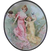 "9.5"" Late 19th Early 20th Century Oval Chimney Flue Cover Woman Cherub Birds"
