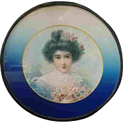 """9"""" Late 19th Early 20th Century Chimney Flue Cover Woman Blue"""