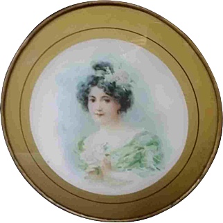 """8"""" Late 19th Early 20th Century Chimney Flue Cover Woman Gold Edge Green"""
