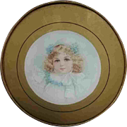 """7.5"""" Late 19th Early 20th Century Chimney Flue Cover Child Gold Edge Green"""