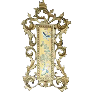 """12"""" Gilt Metal Picture Frame with Embroidery Textile Butterflies"""