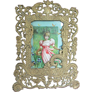 """12"""" Gold Tone or Gilt Victorian Frame with Print of Woman"""