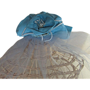 Women's Blue Satin Cocktail Hat Veil Pearls