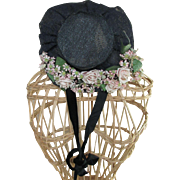 Lovely Small Vintage Navy Blue Straw Hat Masses of Pink Roses