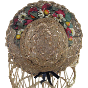 Wonderful Late 19th Early 20th Century Straw Hat  With Fruit Flower Trim
