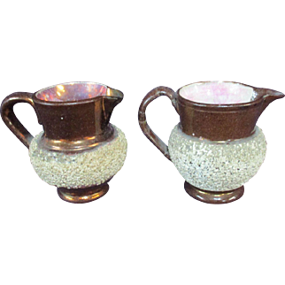 """PR 3"""" Pebbled White Copper Lusterware Pitchers AS IS"""