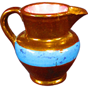 """2.5"""" Tiny Copper Lusterware Pitcher Blue Band AS IS"""