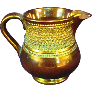 """3.25"""" Copper Lusterware Pitcher Incised Pattern"""
