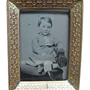 Small Framed Tintype Ferrotype Seated Boy