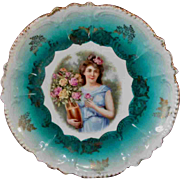 "8.75"" Beautiful Blue Green Plate Greek Woman with Vase Flowers Germany"
