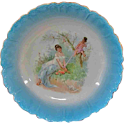 """Lovely 10"""" Crown and Circle Mark Lady Woman Cherub Bowl Germany"""