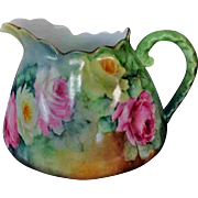 Lovely Old PM&M Hand Painted Signed J&C Water Pitcher Roses Green