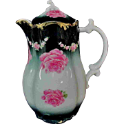"""Charming 8.5"""" Deep Blue-Green Victorian Pitcher Roses Gold-edged"""