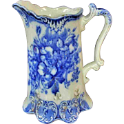 """6"""" Lovely Antique Flow Blue Pitcher Marked Malone England"""