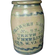 "10"" Antique Charles Laue, Wheeling, West Virginia Stoneware Merchant Jar Crock"