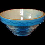"7"" Small Antique Salt Glazed Bowl Blue White Neat Pattern"