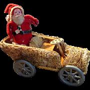 Unique Loofah Sponge Papier Mache Santa Claus and Car