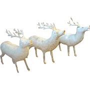 "Set of Three 5"" Vintage White Celluloid Christmas Reindeer"