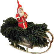 Vintage Christmas Santa Bark Bentwood Sleigh Original Greens