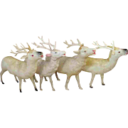 "Set of Four 5.5"" Vintage White Celluloid Christmas Reindeer"