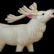 Wonderful Large Vintage White Celluloid Christas Reindeer