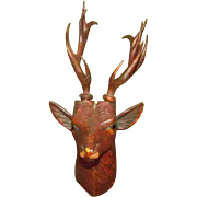 "Wonderful 5"" Richly Carved Wood Hanging Reindeer Head"