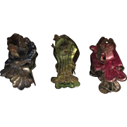 Trio Antique Victorian Christmas Tree Candle Holders Clips