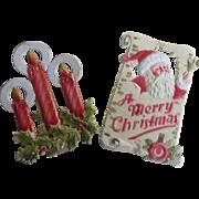 "PR 9"" Vintage Embossed Cardboard Christmas Cards  Santa Candles"