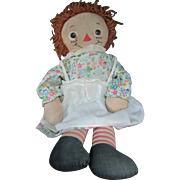 "HALF PRICE 19"" 1950s Knickerbocker Raggedy Ann Doll - Red Tag Sale Item"