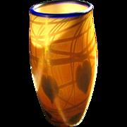 """9.5"""" Vintage Imperial Free Hand Glass Leaf & Web Vine Hanging Hearts Vase Iridescent"""