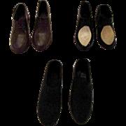 3 Pair Ken Barbie Mattel Shoes Black Brown Oxfords