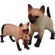 Set of 2 Larger Vintage China Glass Animals Siamese Cat