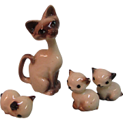 Set of Vintage Glass China Siamese Cat Animal Mama Babies