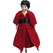 "12.5"" German Low Brow China Doll Red Wool Coat"