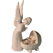 5.5' Goebel Christ Baby Jesus Watched By an Angel Figurine Parian White Bisque