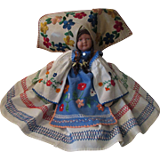 Unusual Large Vintage Flower Girl of Brittany Cloth Doll Hand Made Dress