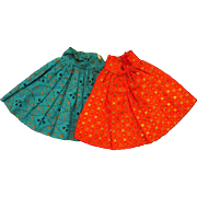 "Set of 2 PCs Jill or other 10"" Fashion Doll Pattern Skirts Red Blue Painted Gilt Hearts"