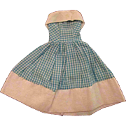 """Jill or other 10"""" Fashion Doll Blue White Check Off the Shoulder Dress"""