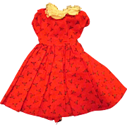 """Jill or other 10"""" Fashion Doll Red Black White Patterned Cotton Dress"""