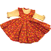 """Jill or other 10"""" Fashion Doll Red Floral Pattern Jumper Attached Blouse"""