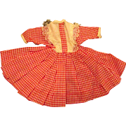 """Jill or other 10"""" Fashion Doll Red White Check Country School Girl Dress"""