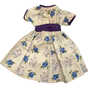 "Jill or other 10"" Fashion Doll Light Blue Purple Patterned Cotton Dress Roses"