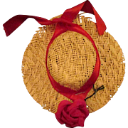 """Straw Hat No. 2 Red Ribbon for Jill or other 10"""" Fashion Doll"""