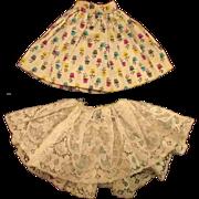 "Set of 2 PCs Jill or other 10"" Fashion Doll Skirt White Cotton Pattern Lace"