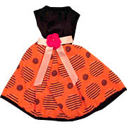 Vogue Jill Doll Lovely Cotton Dress Orange Pattern Black Satin
