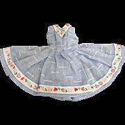 Vogue Jill Doll Lovely Sleeveless Cotton Dress Blue with Heart Trim