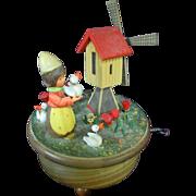 Vintage Anri Thorens Swiss Hand Carved Music Box Girl Windmill Tiptoe Thru Tulip