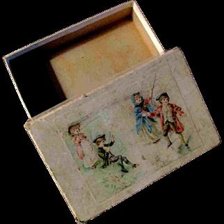 "Vintage 6x4"" Paper Cardboard Box with Children Boy Girl"